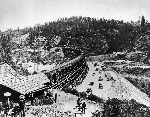 Photograph of Workers on Secret Town Trestle in the...
