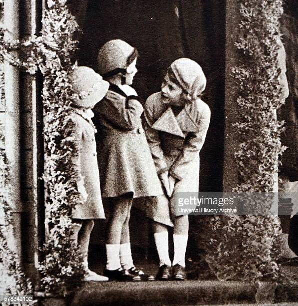 Photograph of young Princess Elizabeth Princess Margaret and their cousin Margaret Elphinstone during the Royal Highland Society in Princess Royal...