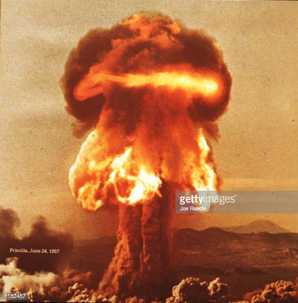 A photograph on display at The Bradbury Science Museum shows a hydrogen bomb test on June 24 1957 The museum is Los Alamos National Laboratory's...