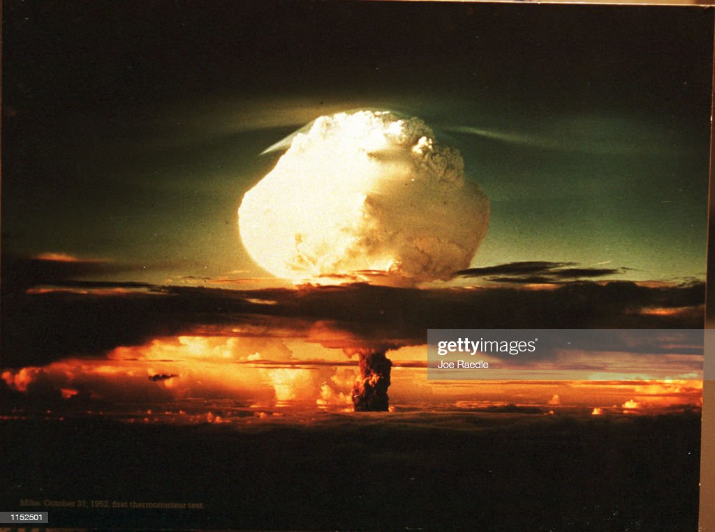 A photograph on display at The Bradbury Science Museum shows the first thermonuclear test on October 31, 1952. The museum is Los Alamos National Laboratory's window to the public. The Museum displays the Laboratory's current research and presents the history of the Laboratory's role in the Manhattan Project during World War II.