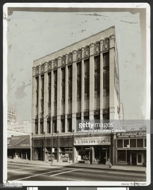 Photograph 'One of the first major structures on that street the fivestory Marion R Gray Building at 824 South Los Angeles has just been purchased...