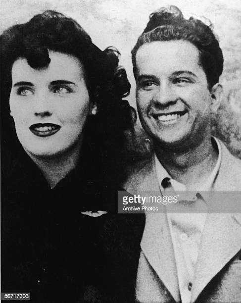 Photograph probably taken in a photo booth of American aspiring actress and murder victim Elizabeth Short , known as the 'Black Dahlia,' and an...