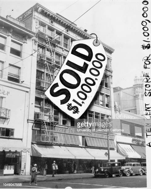 Photograph 'Prominent Broadway block in deal Kress Building which sold for $1000' Examiner clipping attached to verso dated 21 September 1935 The...