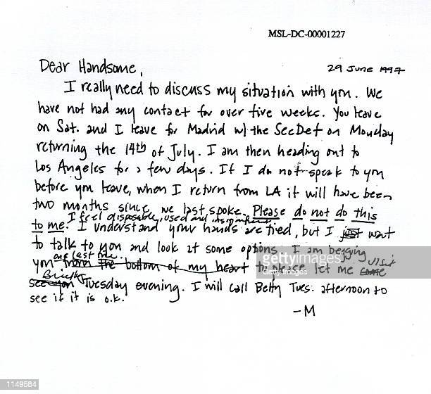 A photograph showing a personal note sent by former White House intern Monica Lewinsky to President Bill Clinton submitted as evidence in documents...