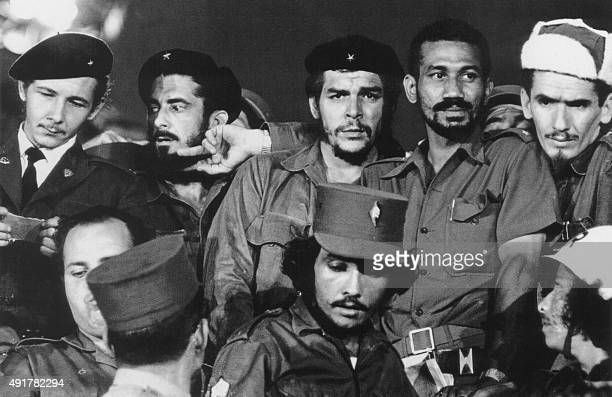 A 1959 photograph showing Commanders Raul Castro Antonio Nunez Jimenez Ernesto 'Che' Guevara Juan Almeida and Ramiro Valdes in Havana during the...