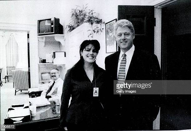 Photograph showing former White House intern Monica Lewinsky meeting President Bill Clinton at a White House function submitted as evidence in...