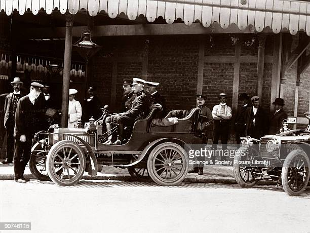 Photograph showing HRH Prince Arthur Duke of Connaught the third son of Queen Victoria with two other army officers in a 10 hp RollsRoyce motor car...