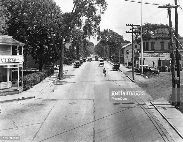 Photograph showing the Boston Post Road as it passes through Darien Connecticut 1925