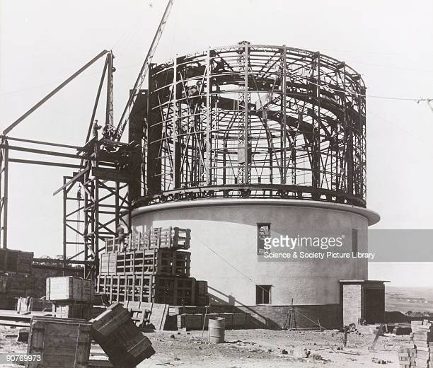 Photograph showing the construction of the observatory building and dome for the 74 inch reflecting telescope at the Radcliffe Observatory Pretoria...