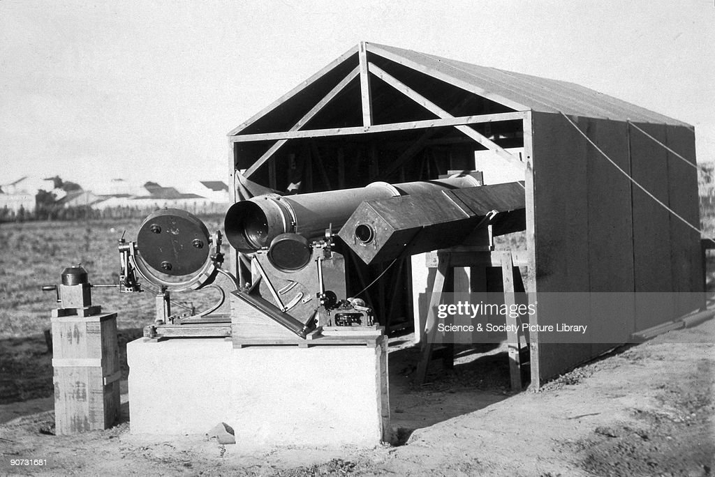 Telescope used to observe a total solar eclipse, Sobral, Brazil, 1919. : News Photo