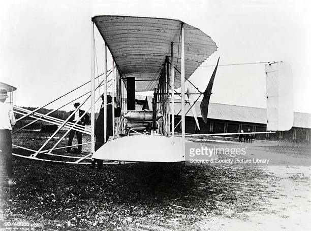 Photograph showing the Wright Brothers' Second Signal Corps aircraft being manoeuvred on its dolly wheels It is shown at Fort Myer Virginia USA This...