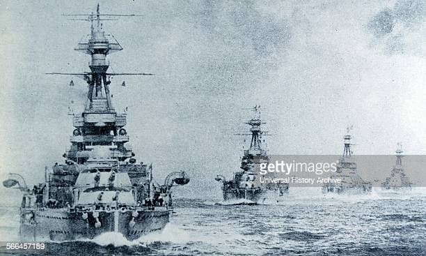 Photograph shows a collection of battleships belonging to the British Fleet. Dated 1940