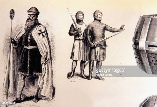 A photograph shows an engraving circa 1300 of Jacques de Molay the 23rd and last Grand Master of the Knights Templar who joined the order aged 21...
