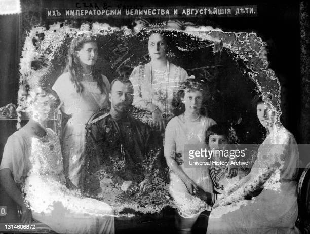 Photograph shows members of the Romanovs, the last royal family of Russia who, after the February revolution of 1917 were sent into internal exile in...