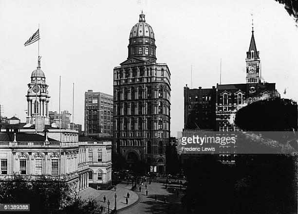 Photograph shows New York City Hall and socalled 'Newspaper Row' in Lower Manhattan 1895 The domed building at center is the New York World Building...