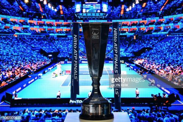 A photograph shows the ATP World Tour Finals trophy on day six of the ATP World Tour Finals tennis tournament at the O2 Arena in London on November...