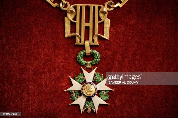 Photograph shows the large necklace of the Legion of Honor at the Elysee Palace in Paris, as part of the 38th edition of the European Heritage days...