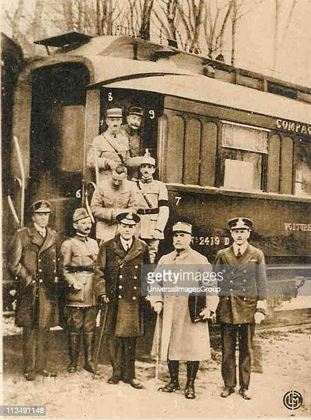 Photograph taken 11 November 1918 as Marshal Foche second from right leaves the railway carriage in which the Armistice ending the First World War He...