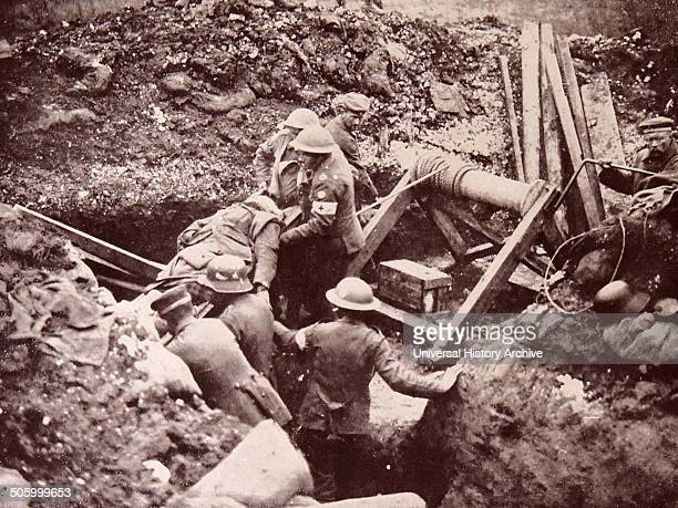 Photograph taken during the Battle of Cambrai German prisoners of war are seen helping on a British Red Cross station The Battle of Cambrai was a...