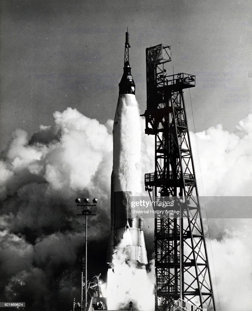 Photograph taken during the launch of Mercury-Atlas 6, the third human spaceflight for the U.S. and part of Project Mercury. Dated 20th century.