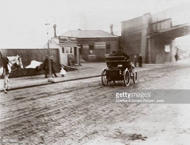 Photograph taken from an album of images compiled by Charles Stewart Rolls English motorist motor car manufacturer and aviator Rolls Peugeot is seen...