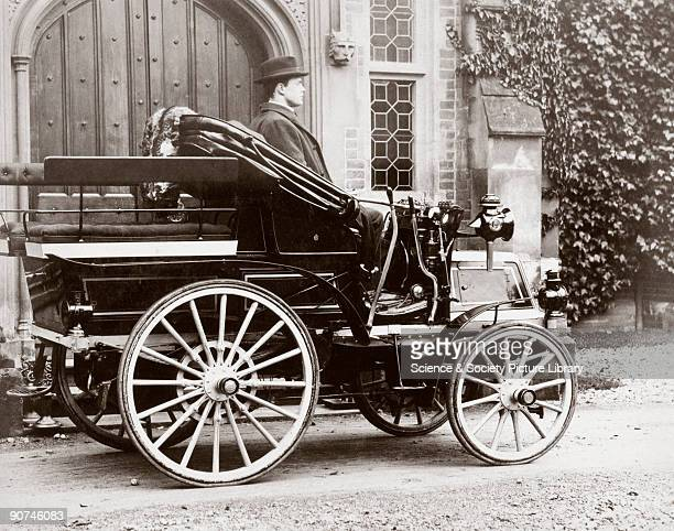 Photograph taken from an album of prints collected by English motorist, motor car manufacturer and aviator Charles Stewart Rolls showing Rolls in a...