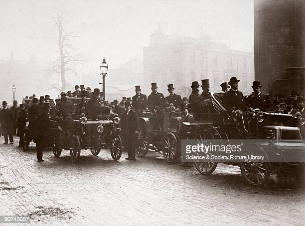Photograph taken from an album of prints collected by English motorist, motor car manufacturer and aviator Charles Stewart Rolls , showing Rolls? car...