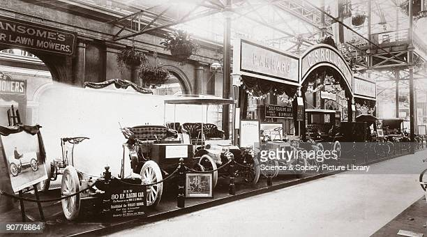 Photograph taken from an album of prints compiled by English motorist, motor car manufacturer and aviator Charles Stewart Rolls , showing motor cars...