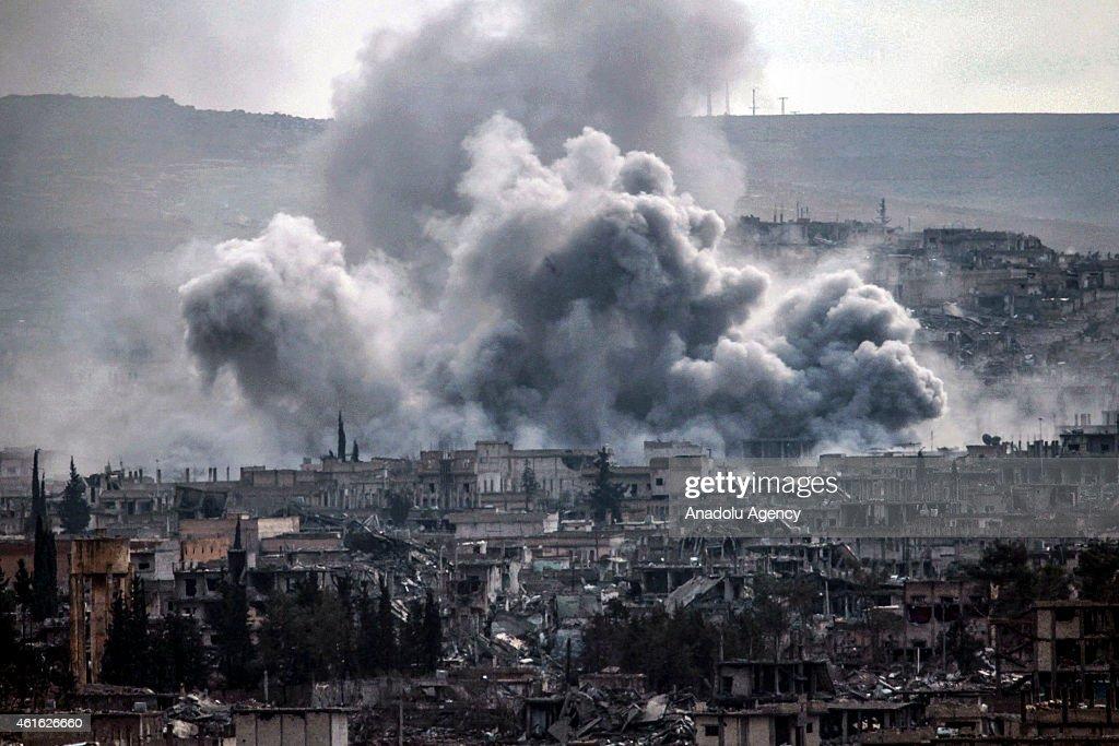 US-led coalition forces hit ISIL targets in Kobani : News Photo