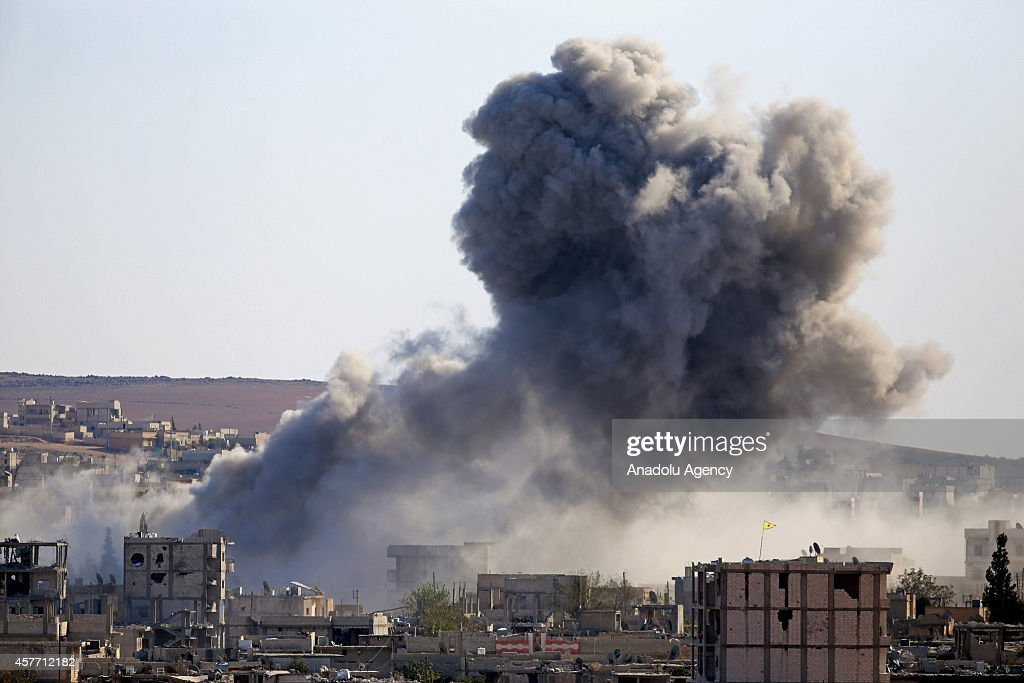 US-led coalition forces hit ISIL targets in Kobani : News Photo