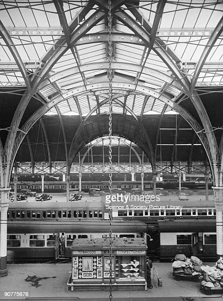 Photograph taken from the Earley album of transverse view across interior of Paddington Station, 1951.
