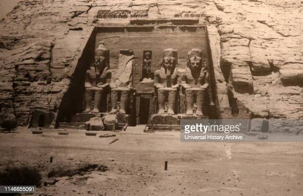 A photograph taken of the Abu Simbel Temple in Nubia Southern Egypt near the border with Sudan The complex is a UNESCO World Heritage Site The temple...