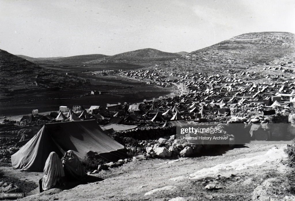 Photograph taken of the tents of Fawwar Camp. In an isolated area of Jordan, near the Spring of Hebron, its inhabitants are among the poorer of the peasant refugees. Dated 20th century.