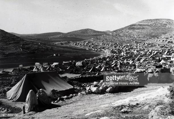 Photograph taken of the tents of Fawwar Camp In an isolated area of Jordan near the Spring of Hebron its inhabitants are among the poorer of the...