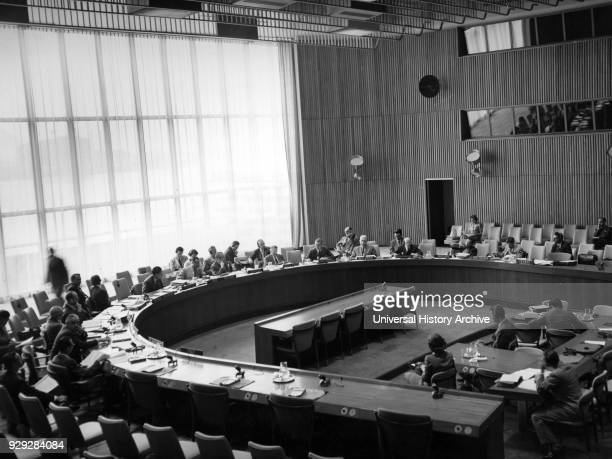 Photograph taken of the trusteeship council beginning the examination of report of Tanganyika by the United Kingdom Government. Dated 20th Century.