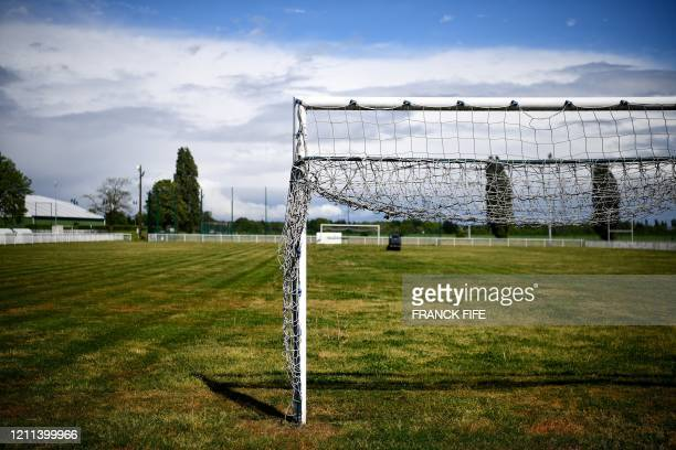 A photograph taken on April 30 2020 shows the football field of the amateur football club FC Parisis at the club training centre in Herblay near...