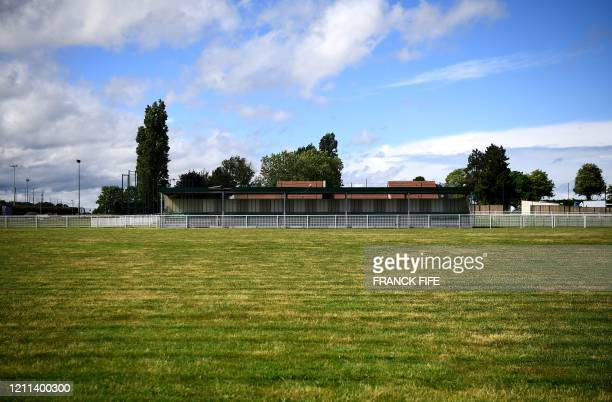 """Photograph taken on April 30, 2020 shows the football field of the amateur football club """"FC Parisis"""" at the club training centre, in Herblay, near..."""