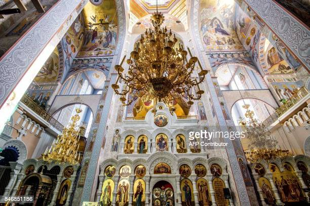 A photograph taken on August 19 2017 shows the interior of the Savior on Blood Cathedral in Yekaterinburg The cathedral is built on the exact place...