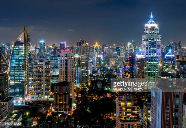 TOPSHOT A photograph taken on August 7 2019 shows the skyline of New Town Bangkok by night