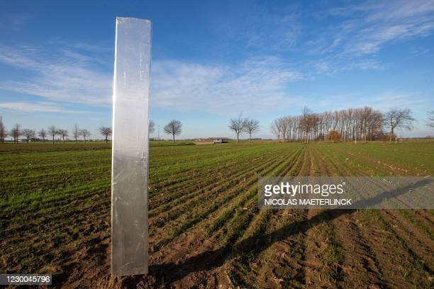 Photograph taken on December 10, 2020 shows a mysterious metal monolith, similar to others appearing in Europe and USA, which was discovered in a...