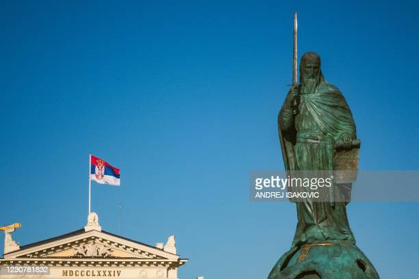 Photograph taken on January 25 shows a 23-metre tall statue erected in honour of the 12th-century Serbian prince Stefan Nemanja in front of the...