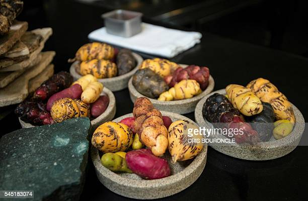 Photograph taken on June 24 of varieties of potatoes used in chef Virgilio Martinezs restaurant Central in Lima In the 2016 ranking of The 50 Best...