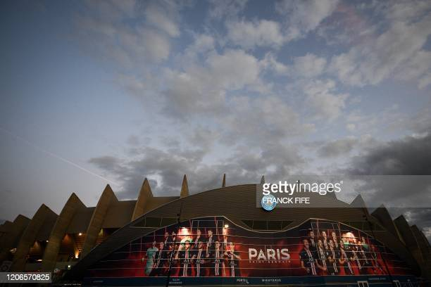 Photograph taken on march 11, 2020 shows the outside of the Parc des Princes stadium, in Paris, ahead of the UEFA Champions League round of 16 second...