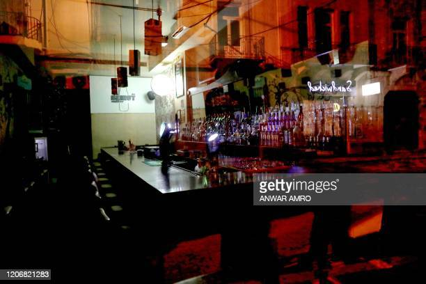 Photograph taken on March 12, 2020 shows a bar on Gouraud street in the Lebanese capital Beirut's Gemayzeh district, known for its bustling...
