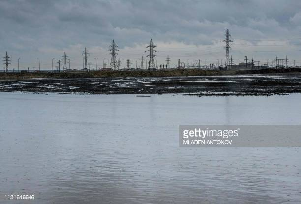 TOPSHOT A photograph taken on March 19 2019 shows a part of Surakhani Oil Field situated at the coast of the Caspian Sea outside Baku after being...