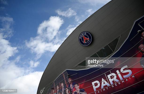 Photograph taken on March 9, 2020 shows a view of a gate of the Parc des Princes stadium in Paris, two days ahed of the UEFA Champions League Group A...