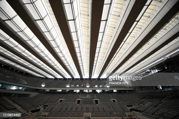 A photograph taken on May 27 2020 shows the newly built roof of the Philippe Chatrier central tennis court at the Roland Garros stadium in Paris The...