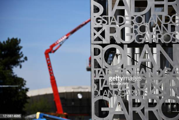 A photograph taken on May 27 2020 shows the outside of the Philippe Chatrier central tennis court at the Roland Garros stadium in Paris during...