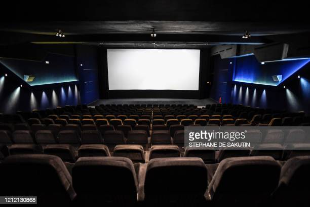 A photograph taken on May 7 2020 shows the screening room of the movie theatre Cinema Majestic in Paris as the country is under a strict lockdown...