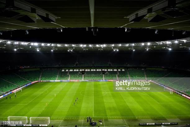 Photograph taken on November 23, 2020 shows a general view of the pitch before Sevilla's training session, ahead of the UEFA Champions League...